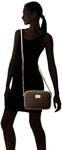 5c25800e32c50e Michael Kors Women's Jet Set Crossbody Leather Bag, Brown Monogram, Large