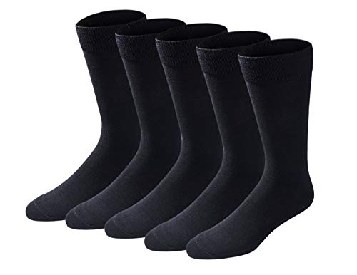 Dockers Men's Classics Dress Flat Knit Crew Socks Multipacks, Black 5 Pack, Shoe Size: 6-12 Size: 10-13