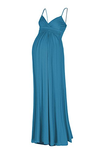 - Beachcoco Women's Maternity Sweetheart Party Maxi Dress (L, Teal Blue)