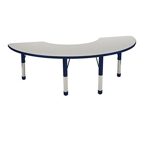 ECR4Kids 36'' x 72'' Half Moon Activty School Table, Chunky Legs, Adjustable Height 15-24 inch (Grey/Navy) by ECR4Kids