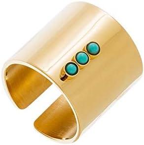 Zag joyas anillo tubo Trio piedra turquesa (dorado amarillo)