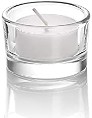 Elivia Set of 18 Round Glass Candle Holder Clear Tealight Candle Holders - CH03