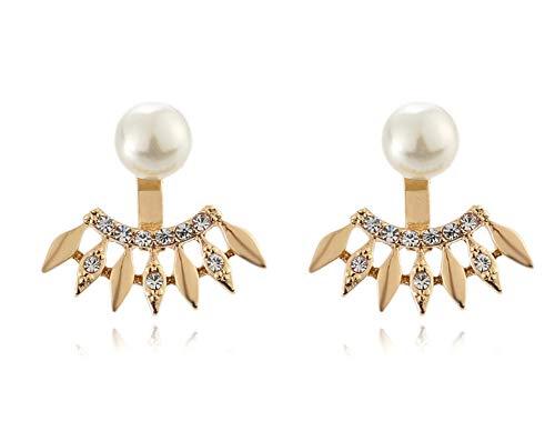 (Eoumy Gold Crystl Arrow Ear Jacket Earrings Round Pearl Stud Earrings for Women Girl)