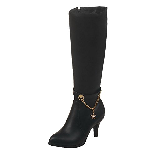 Black Women's Fashion Pointed Toe Carolbar Chains Long Boots 08agv
