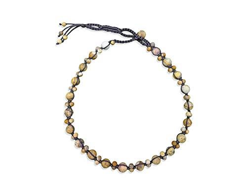 (MGR MY GEMS ROCK! BjB Semi-Precious Stone Hand Beaded Braided Choker Style Fashion Necklace. (Matte Picture Jasper))