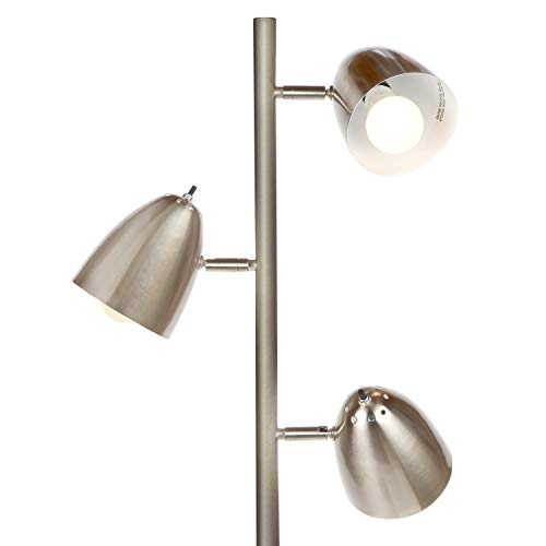 Brightech Jacob - LED Reading and Floor Lamp for Living Rooms & Bedrooms - Classy, Mid Century Modern Adjustable 3 Light Tree - Standing Tall Pole Lamp with 3 LED Bulbs - Satin Nickel by Brightech (Image #1)