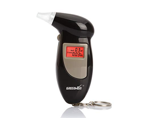 GREENWON Breathalyzer Keychain Digital Alcohol Tester Detector Breath Analyzer Audible Alert Portable with LCD Display Personal Use