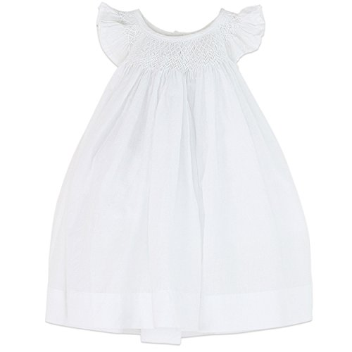 Feather Baby Girls Clothes Pima Cotton Hand-Smocked Angel Sleeve Woven Dress and Bloomer Set (Baby Smocked Dress White)