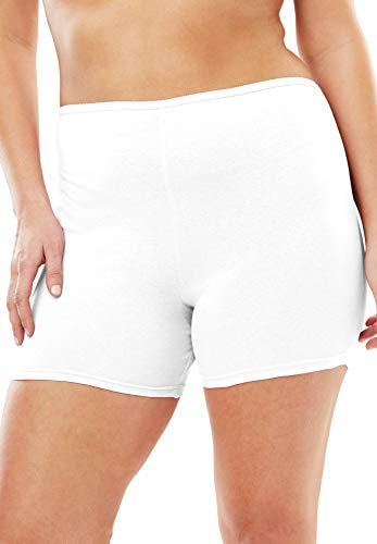 - Comfort Choice Women's Plus Size 3-Pack Cotton Boxer - White, 10