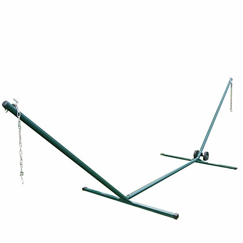 PG PRIME GARDEN 15 FT. Heavy Duty Steel Tubing Hammock Stand,Includes Hammock Stand Wheel Kit,Easy to Assemble,Steel Green Coated Frame,Rust Resistant