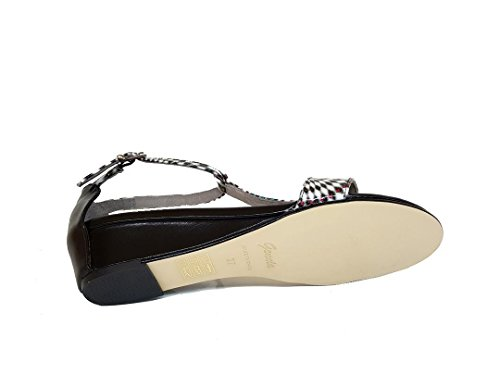 GENNIA SINCUVI - Women´s Leather Sandals with Wedge Snail-napa Black x4Dr3pCp5