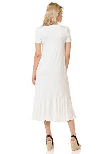 Dress Line Hemline iconic Ruffle Midi Ivory A Women's luxe rtq0wWg07H