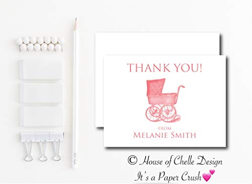 Personalized Baby Shower Thank You Cards - Baby Shower Thank You Notes - Set of 12 with Envelopes - VINTAGE BABY CARRIAGE PINK