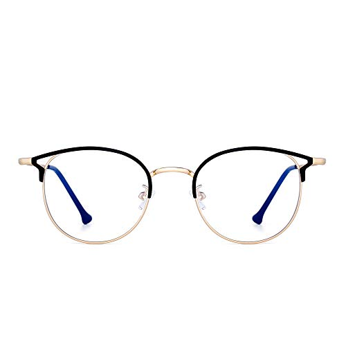 Designer Blue Light Blocking Computer Glasses Metal Round Cateye Eyeglasses for Women Reduce Eye Strain Black Gold