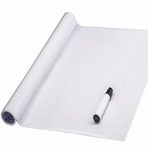 Coavas White Board Sticker, Peel and Stick Dry Erase Message Board Decal for Home and Office with a Black Pen (Dry Vinyl Erase)