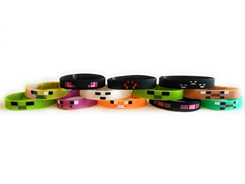 Mining Pixelated Glow in the Dark Bracelets Kids Birthday Party Favors (12 pack) by MA Creations