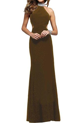 Damen Abendkleid Ivydressing Etui Stehkragen Linie Partykleid Steine Festkleid Rueckenfrei Braun Promkleid Modern fTwqFTd1