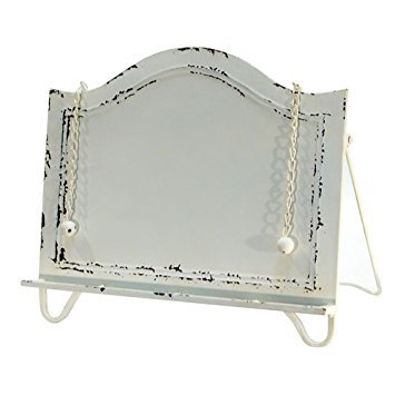 Distressed White Metal Cook Book Holder Cookbook Stand by VIPSSCI