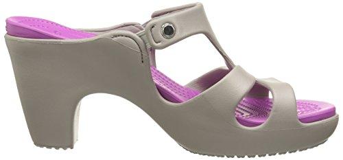 Crocs Cyprus V Heel W - Zapatos sintéticos para mujer Platinum/Wild Orchid