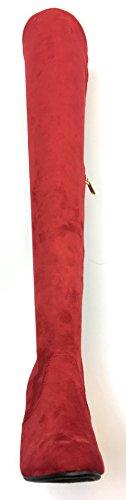 Bambu Kvinna Stretchig Chunky Blocket Hälen Låret Hög Otk, Over-the-knee Spetsiga Tå Boot Namaste-03 Röd