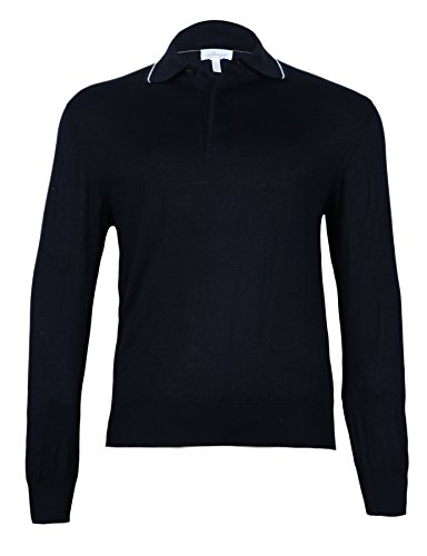 Brioni Men's Black Cashmere Silk Polo Sweater with Cover, size 48 (S)