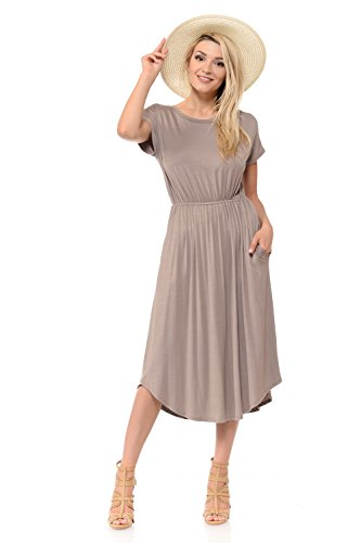 iconic luxe Women's Solid Short Sleeve Flare Midi Dress with Pockets X-Large Taupe