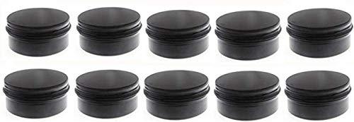 JKLcom Aluminum Metal Tins 3oz/90ml,Black Tins Round Tin Cans Aluminum Tin Jars with Screw Top (Black, 10) ()