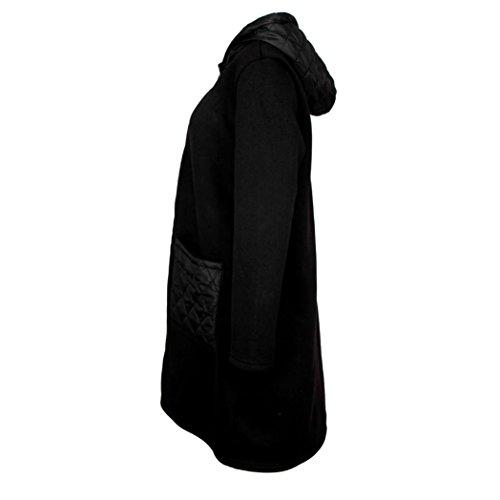 Outwear para Abrigo Internet capucha Negro Chaqueta manga Escudo cortavientos larga Top de abrigo mujer con 8qS7C
