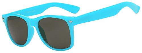 Retro 80's Vintage Smoke Lens Sunglasses Light Blue Frame