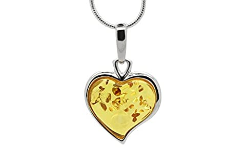 925 Sterling Silver Heart Pendant Necklace with Genuine Natural Baltic Honey Amber. Chain included (Unique Amber Pendant For Women)