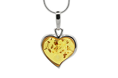 Heart Honey Amber (925 Sterling Silver Heart Pendant Necklace with Genuine Natural Baltic Honey Amber. Chain included)