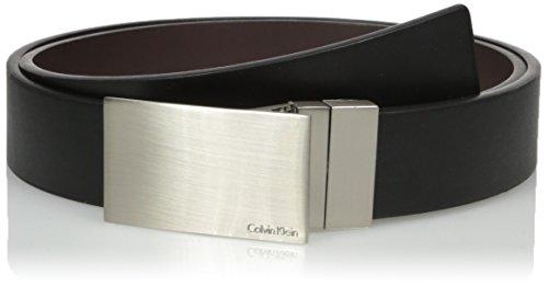 - Calvin Klein Men's Round Edge Plaque Buckle 32mm Reversible Belt, black/Brown, 36