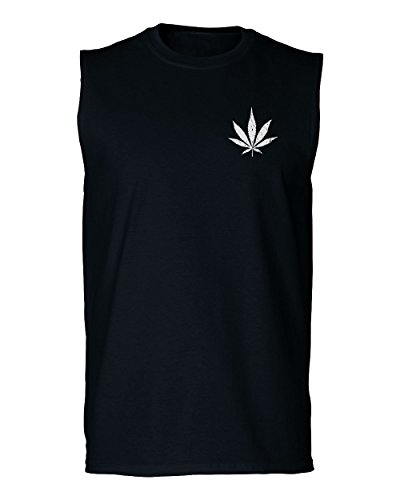 VICES AND VIRTUESS Vintage Weed Leaf Marihuana Mota High Stoned Day Retro Cool Men's Muscle Tank Top Sleeveless t Shirt (Black X - Leaf Marihuana
