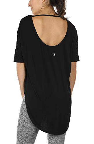 icyzone Yoga Tops for Women - Open Back Workout Top Moisture Wicking Running Shirts Casual Loose Blouses Long Back T-Shirts (XL, Black)
