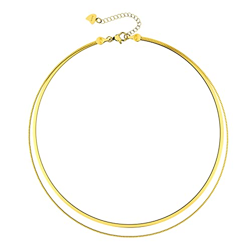 UHIBROS Layered Necklace for Women, 14K Gold Plated S925 Sterling Silver Snake Chain Necklace, Dainty Choker Necklace for Teen Girls