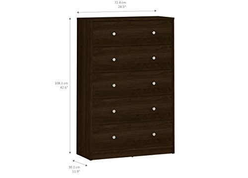 (Tvilum 703292020 Portland 5 Drawer Chest, Coffee)