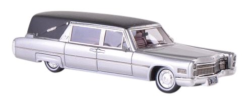 1/87 キャデラック S&S Landau Hearse 霊柩車 1966(シルバー/マットブラック) NEO87612