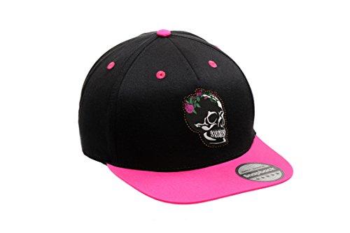 Urbano Ajustable Unisex Skull Visera y Bordado con Plana Cap Gorra Hat Snapback Flower Pink Black Blooming Original Logotipo vRUaqwA