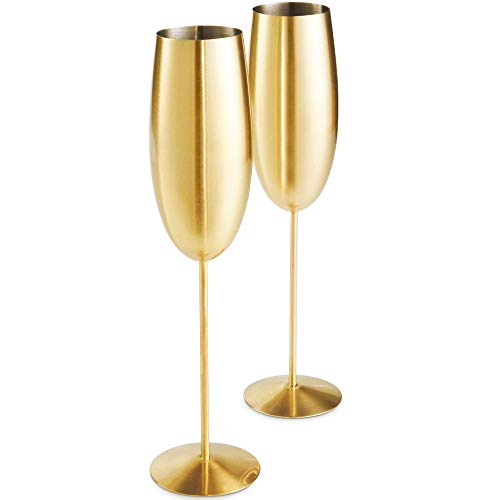 VonShef Gold Champagne Glasses, Shatterproof Stainless Steel, Set of 2 Brushed Gold 9oz Champagne Flutes with Gift Box