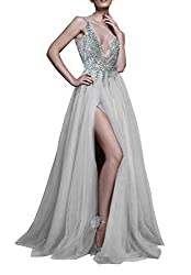 V-Neck With Sequin, Beads & Lace Gown