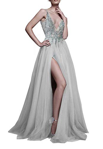 Sexy Gray Prom Dresses with Deep V Neck Sequins Tulle and Lace Sex High Split Long Evening Dress Party Dresses - Split Dress Beaded Neck