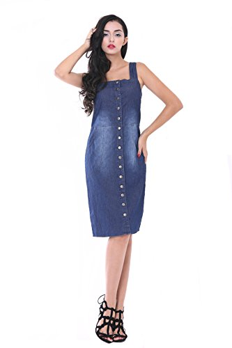NONOSIZE Women's Denim Button Suspender Skirt Strap Overall Dress, Navy Blue, Size M