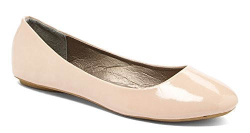 Simply Petals Girls Patent Leatherette Slip on Round Ballet Flat (Little Girl/ Big Girl) nude 11