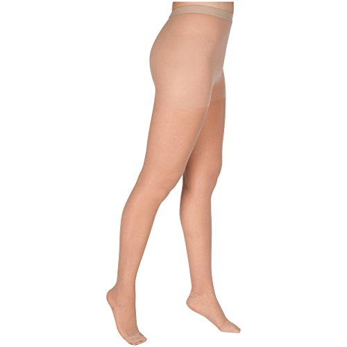EvoNation Women's USA Made Graduated Compression Pantyhose 20-30 mmHg Firm Pressure Medical Quality Ladies Waist High Sheer Support Stockings - Best Circulation Panty Hose (Small, Tan Beige Nude) (Waist Stand High)