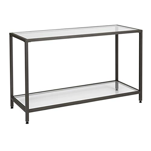 Studio Designs Home 71001.0 Camber Console Table in Pewter with Clear Glass (Glass Sofa Round)