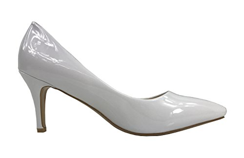 Collezione Ever Per Donna Sadie Pumps Slip A Tacco Medio-basso Brevetto Bianco