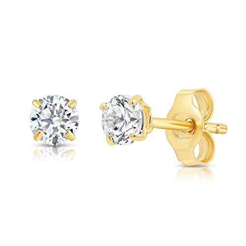 Solitaire 14k Yellow Solid Gold (14k Yellow Gold Solitaire Round Cubic Zirconia CZ Stud Earrings with Gold butterfly Pushbacks (3mm))