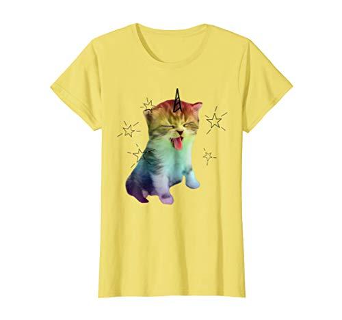 (Womens Unicorn Cat Caticorn Shirt Pink Rainbow Pride Purr Shirt XL Lemon)