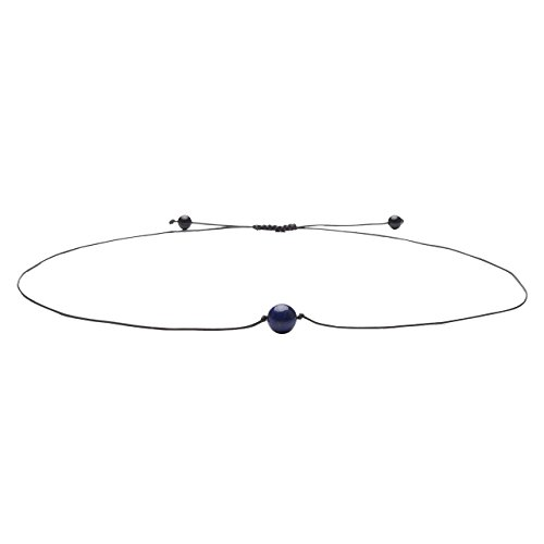 Top Plaza Fashion Natural Reiki Chakra Healing Energy Stone Beads Handmade Weave Adjustable Black String Choker Necklace W/1 8MM Dyed Lapis Lazuli (Black Weave Necklace)