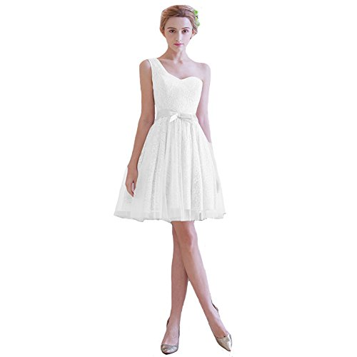 Lemai Lace and Tulle One Shoulder Beach Short Prom Homecoming Bridesmaid Dresses White US20W